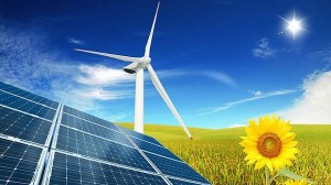 solar panels on a nice meadow with a sunflower and windmill